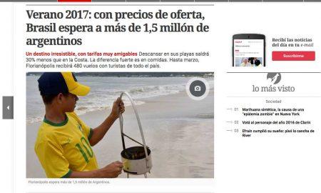 Jornal Clarín repercute expectativa da Embratur para o verão